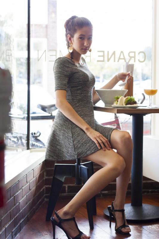 Mizusawa eating at Crane Ramen, rocking Simply Vera by Vera Wang's grey tweed dress. Photo courtesy of Ronan Galvez.
